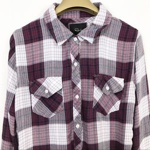 Rails Plaid Button Front Long Sleeve Shirt Top